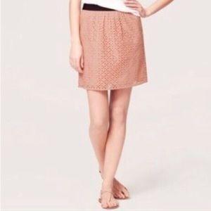 Loft Blush Floral Eyelet Mini Skirt